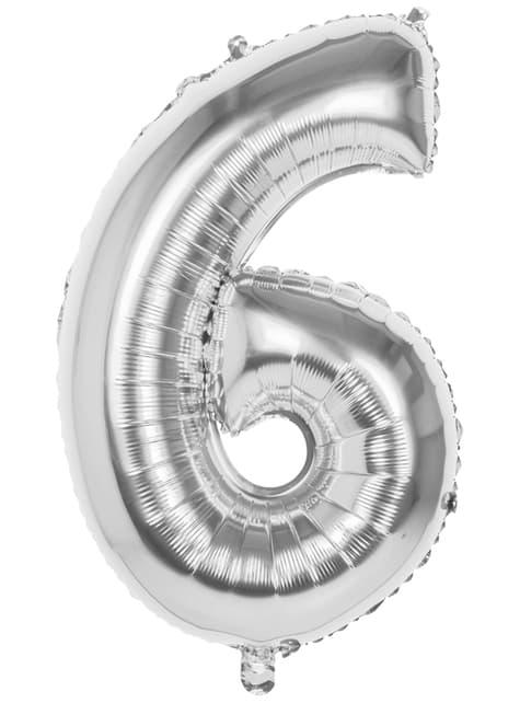 Numero 6 hopeinen ilmapallo 86cm