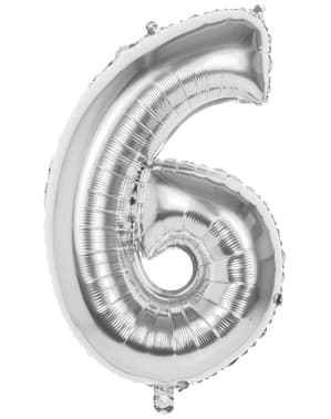 Balão número 6 prateado 86 cm