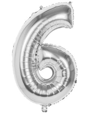 Ballon número6 argenté 86 cm