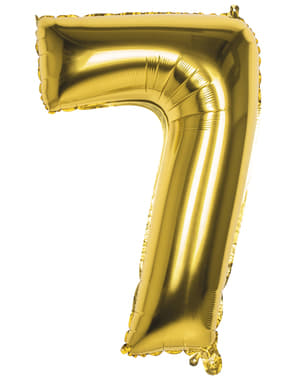 Number 7 gold balloon 86cm