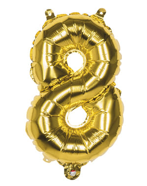 Gouden nummer 8 ballon 36cm