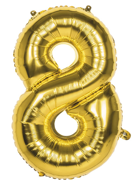 Number 8 gold balloon 86cm