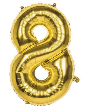 Globo número 8 dorado 86 cm