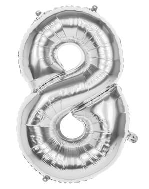 Ballong nummer 8 silverfärgad 86 cm