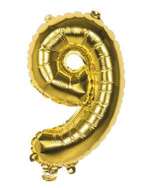 Gouden nummer 9 ballon 36cm