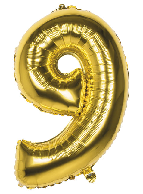 Number 9 gold balloon 86cm