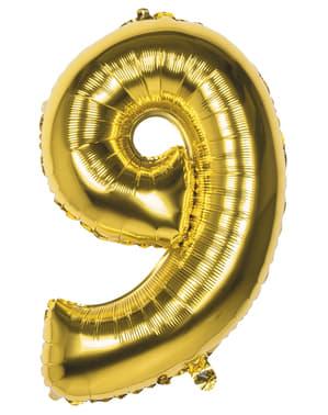 Globo número 9 dorado 86 cm
