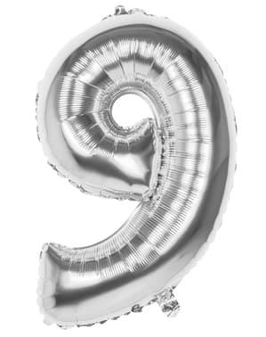 Ballon chiffre 9 argenté 86 cm