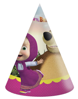 Zestaw 6 urodzinowych czapeczek Masza i Niedźwiedź