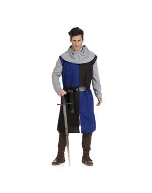Niebieska średniowieczna opończa tunika dla mężczyzn