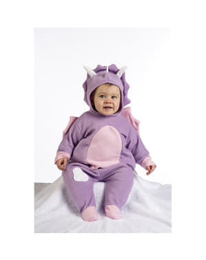 Costum de dinozaur mov pentru bebeluși