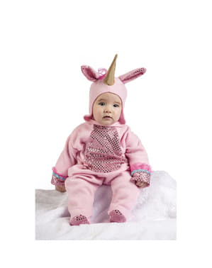 Pink unicorn costume with sequins for babies