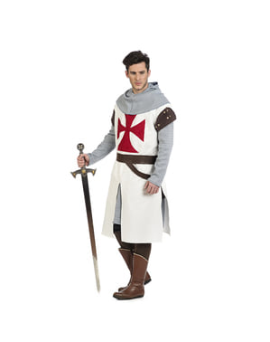 Déguisement chevalier médiéval templier homme