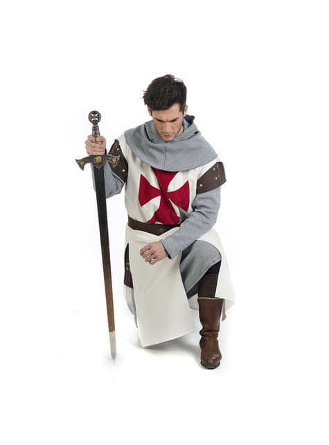 Medieval templar knight costume for men