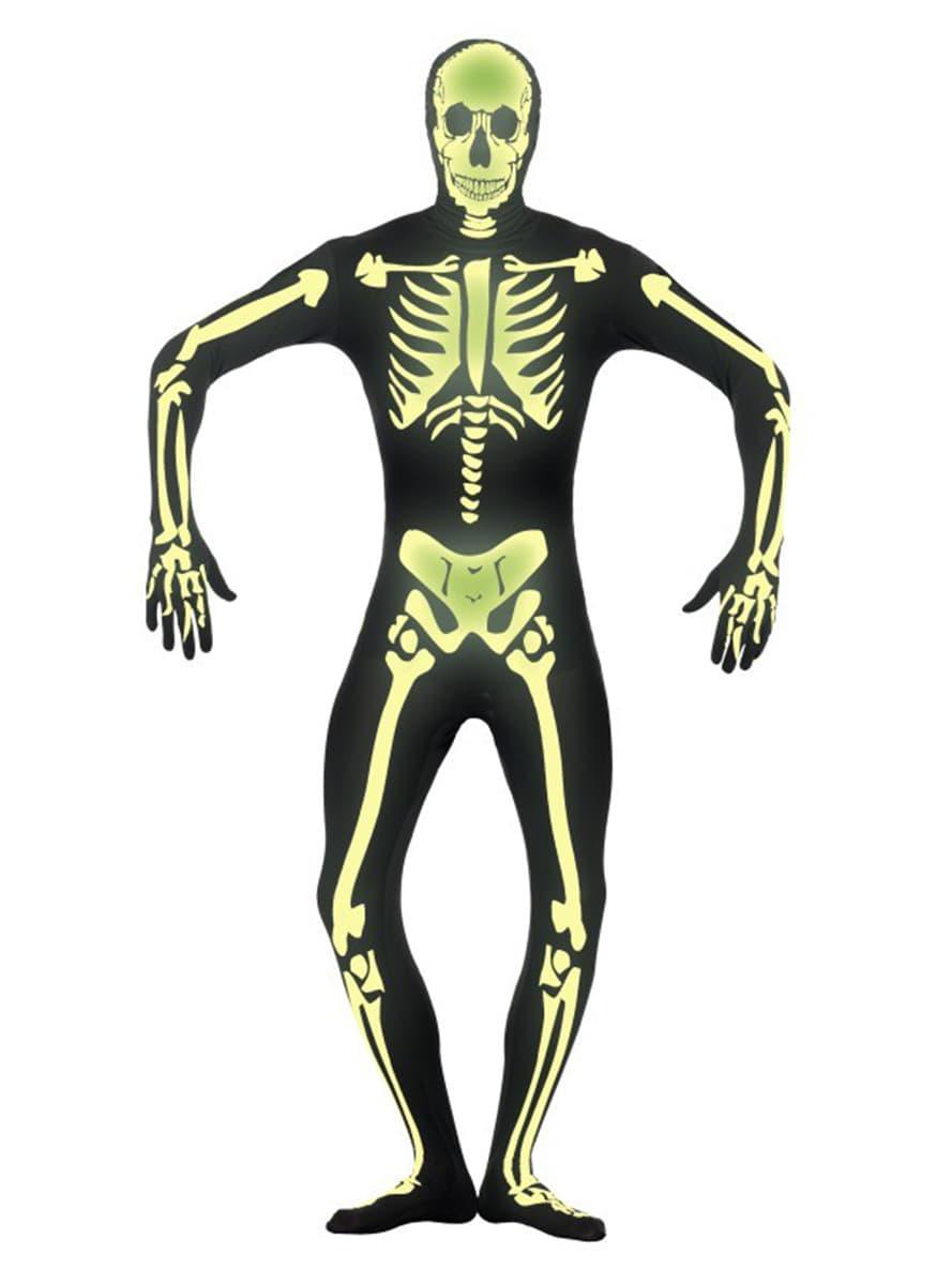 Disfraz de esqueleto brillante en la oscuridad segunda piel. Have ...