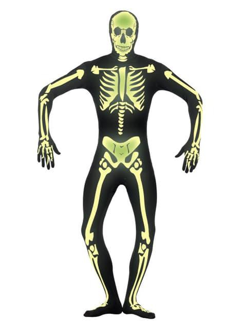 Disfraz de esqueleto brillante en la oscuridad segunda piel - hombre