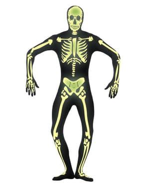 Ragyogás a sötét második bőr csontváz felnőtt jelmezben