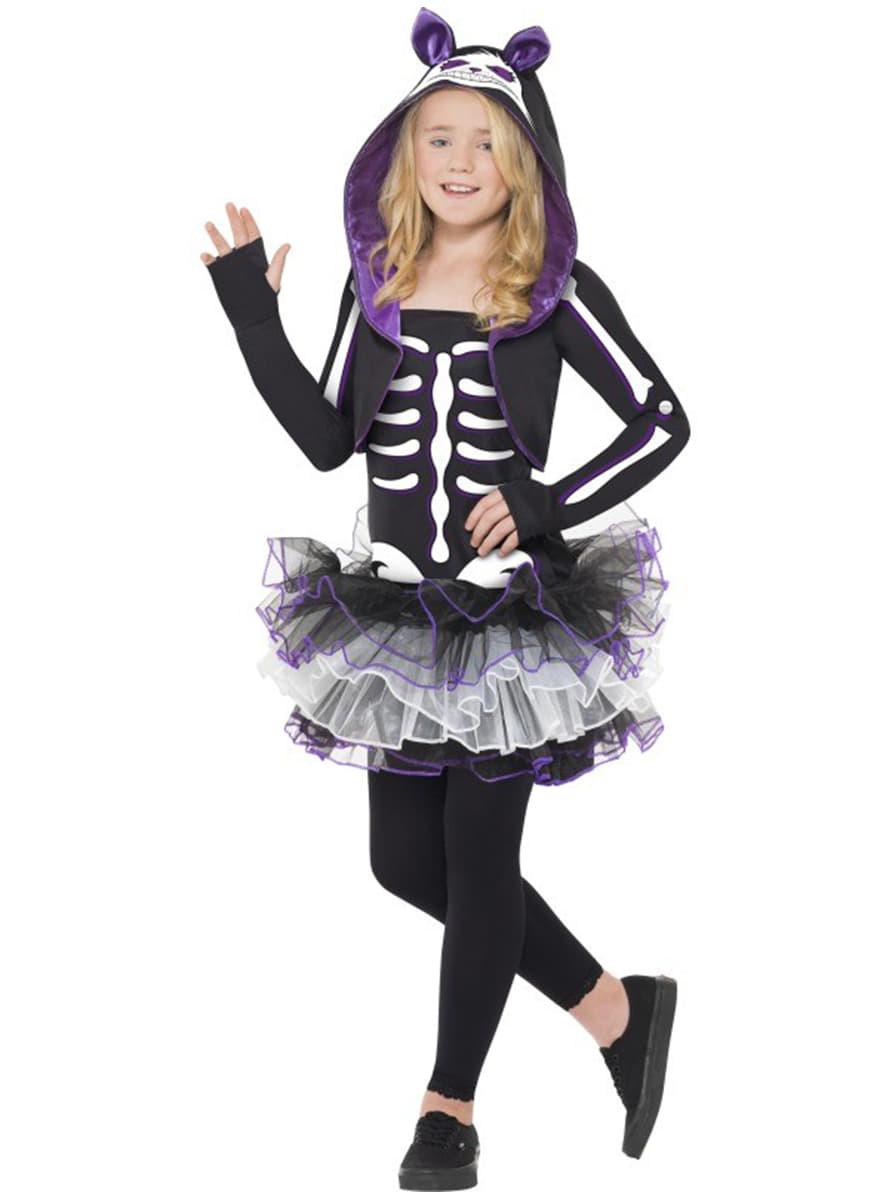 Disfraz de esqueleto de gatita para nia Funidelia