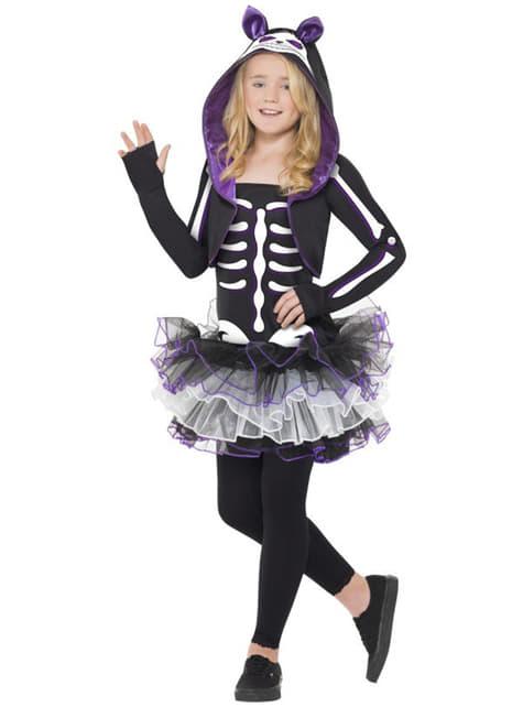 Disfraz de esqueleto de gatita para niña