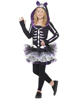 Fato de esqueleto de gatinha para menina