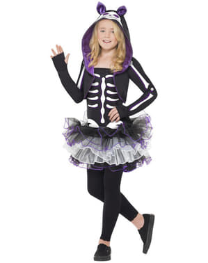 Kitty Cat Skeleton Kids Costume