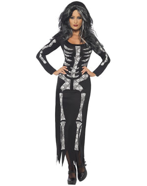 Strój damski czarny szkielet