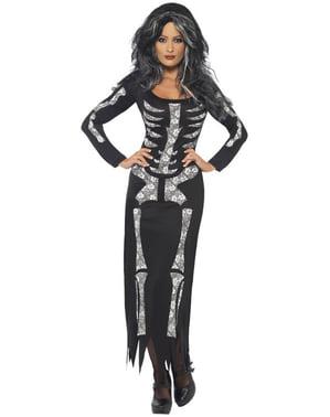 Skelett Kostüm Schwarz für Damen