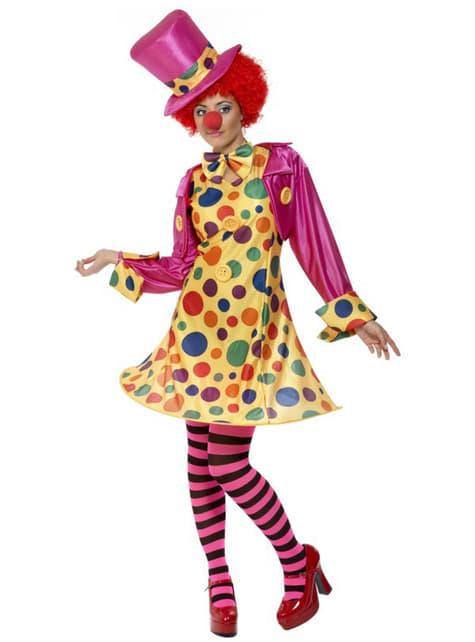 Klovne multifarvet kostume til kvinder