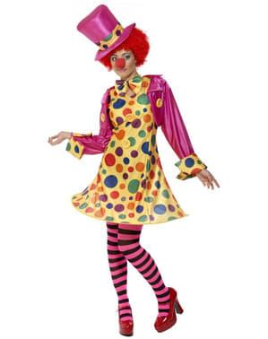 Déguisement de femme clown multicolore