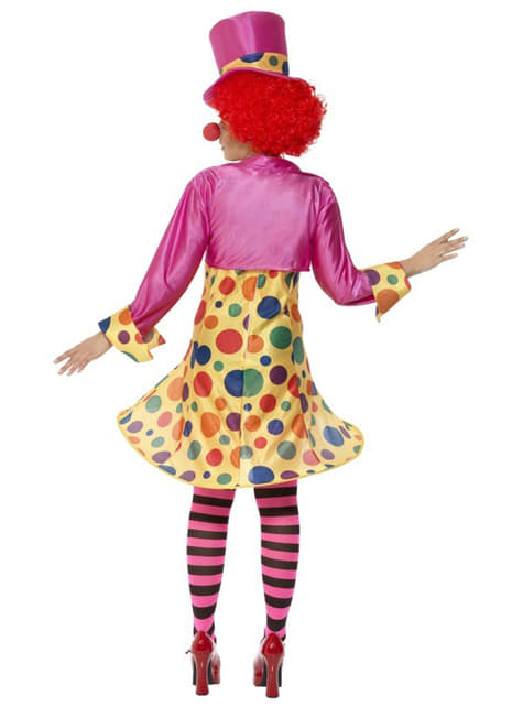 Déguisement de femme clown multicolore