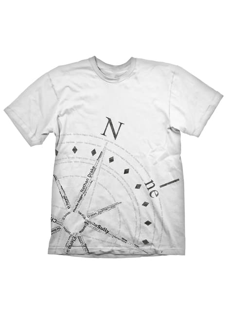 T-shirt Uncharted 4: A Thief's End bússola para homem