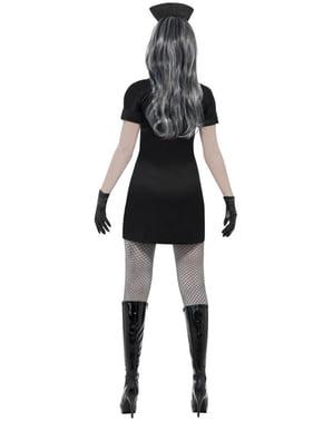 Zombie verpleegster kostuum in zwart