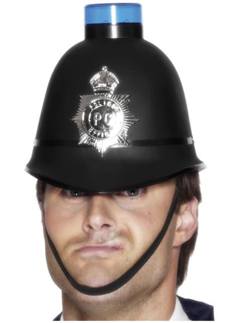 Casco de policía con luz de sirena