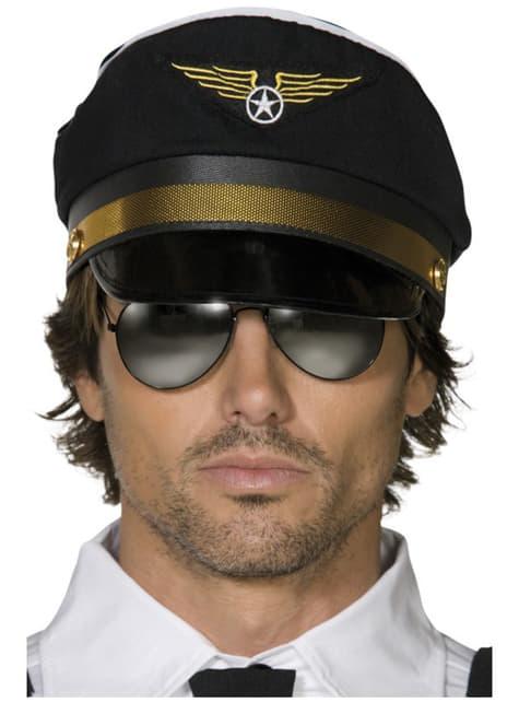 Gorra de piloto negra - para tu disfraz