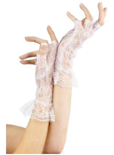 Mănuși de dantelă fără degete albe