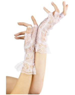 Valkoiset sormettomat pitsikäsineet