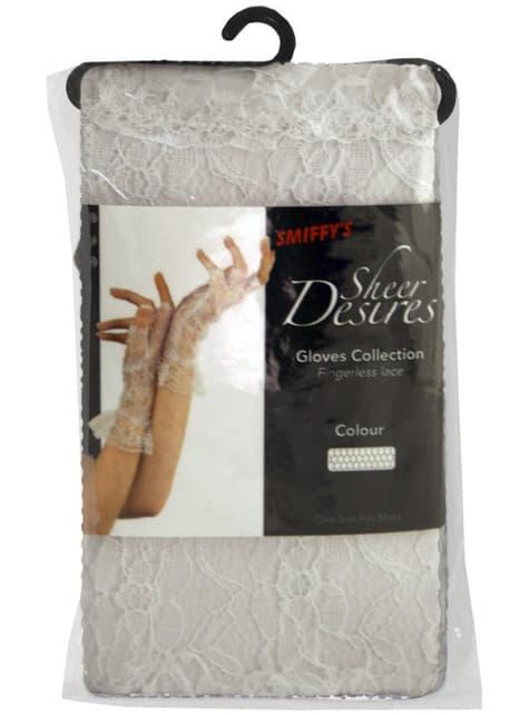 Fingerlose Handschuhe aus Spitze Weiß