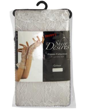 Білі мереживні рукавички без пальців