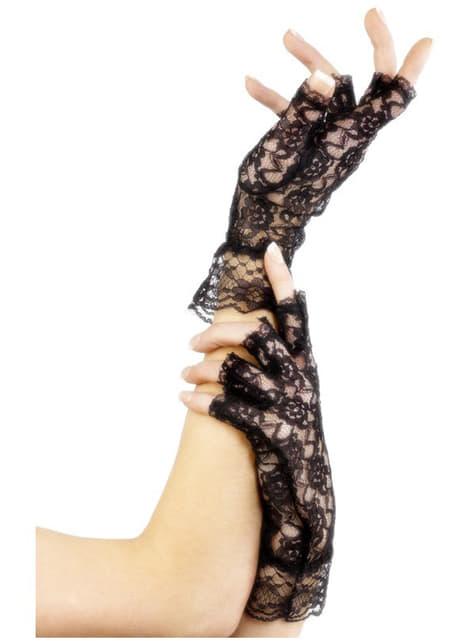 Μαύρα γάντια από δαντέλα χωρίς δάχτυλα