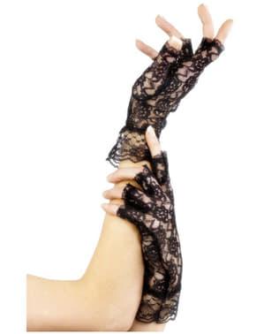 Черни ръкавици с дантела без пръсти