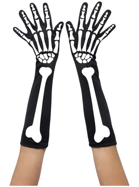 Gants longs de squelette