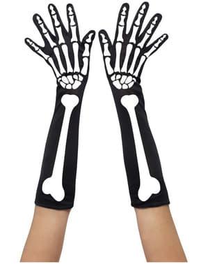 Luvas compridas com esqueleto