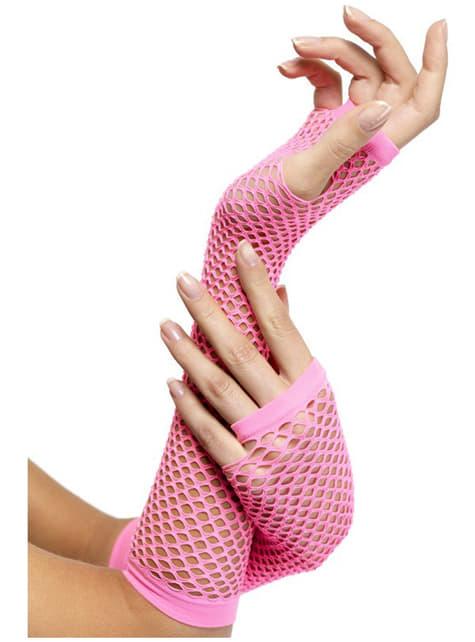 Rękawiczki z siateczki różowe