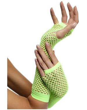 Neon Green Fishnet Gloves
