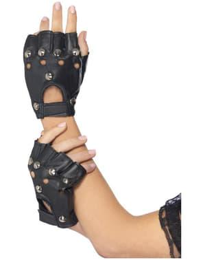 Zwarte punkhandschoenen