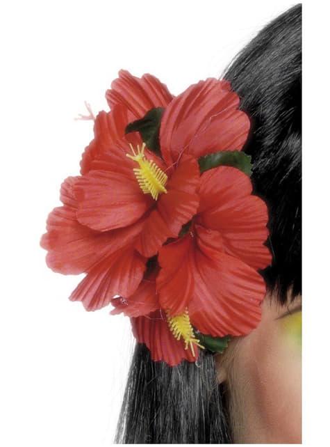 Gancho de pelo con flor hawaiana rojo