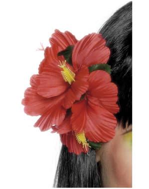 Punainen kukkahiuskoriste