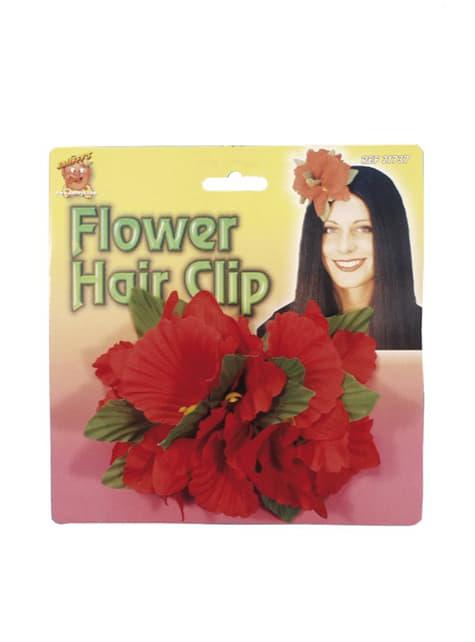 Pince à cheveux avec une fleure hawaïenne rouge