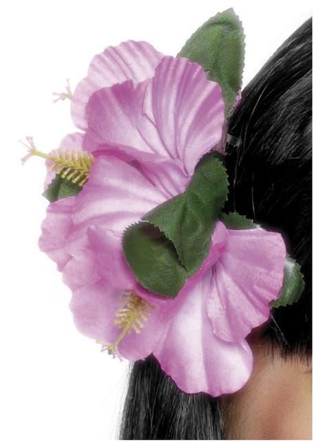 Pince à cheveux avec une fleure hawaïenne rose