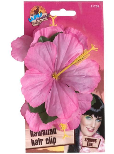 Gancho de pelo con flor hawaiana rosa - para tu disfraz